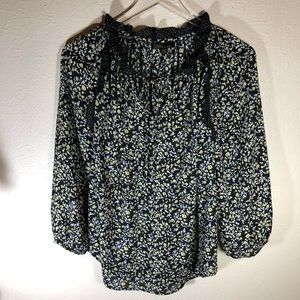 Black Floral with Dotted Ruffles, Size M, by Dalia